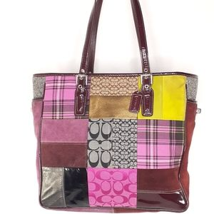 Coach 5179 Holiday Patchwork Purse Tote Bag suede